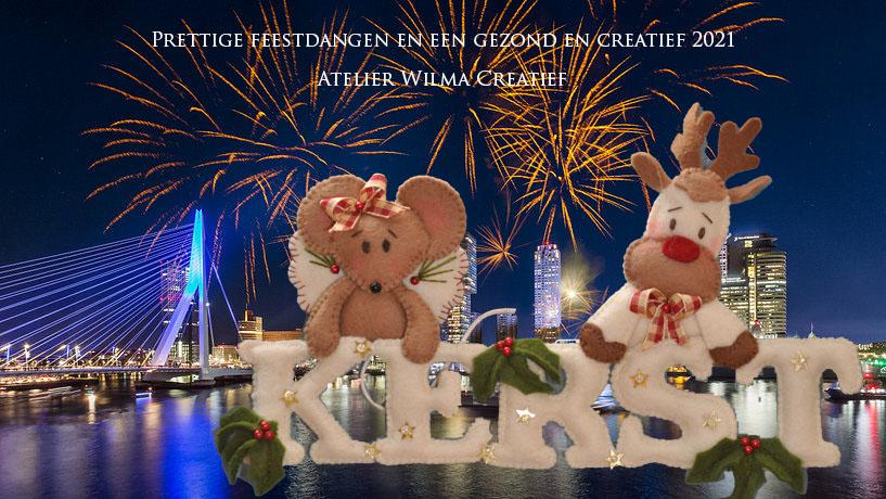 kerstkaart vuurwerk en kerst atelier Wilma Creatief